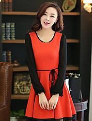 Women's Orange/Yellow Dress , Party Long Sleeve