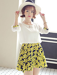 Women's Yellow Dress , Casual/Cute ½ Length Sleeve