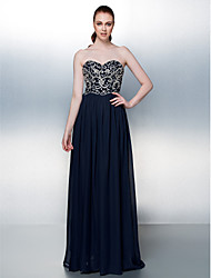 Formal Evening Dress - Dark Navy Plus Sizes / Petite A-line Strapless Floor-length Chiffon