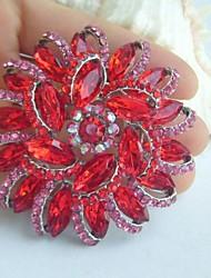 Women Accessories Silver-tone Red Rhinestone Crystal Flower Brooch Art Deco Bridal Bouquet Women Jewelry