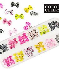 60pcs 12 cores arte bowknot unhas decorações 1.2x0.8 cm