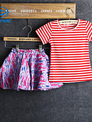 CANIS@Girl's Summer Short Sleeve Stripe Pattern Clothing Sets (Cotton)