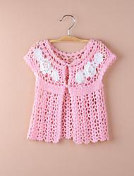 Kids Wraps Short Sleeve Lace/Polyester Party/Casual Hook Flower Coats White/Pink Bolero Shrug