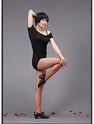 top dança latina para o desempenho das mulheres / formação de algodão mercerizado uma peça preta