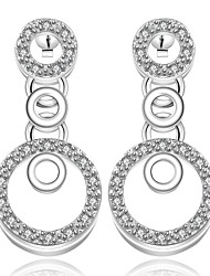 lureme® Fashion Style Silver Plated Hollow Circle with Zircon Stud Earrings