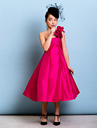 Lanting Bride® Tea-length Taffeta Junior Bridesmaid Dress A-line / Princess One Shoulder with Flower(s) / Criss Cross