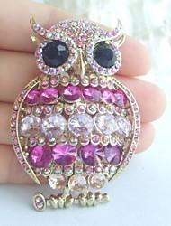 Women Accessories Gold-tone Pink Rhinestone Crystal Owl Brooch Art Deco Scarf Brooch Pin Women Jewelry