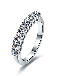0.7CT 7 Stones Wedding Band SONA Diamond Band Engagement Ring for Women Sterling Silver in Platinum Plated Pt950 Stamped