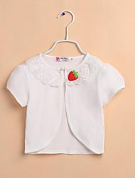 Kids Wraps Boleros Short Sleeve Polyester Sweet Flower Boleros White/Pink Bolero Shrug