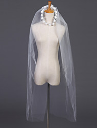 Wedding Veil Two-tier Elbow Veils Headpieces with Veil Cut Edge 39.37 in (100cm) Tulle White Ivory