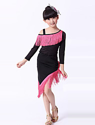 Latin Dance Performance Outfits Children's Performance/Training Polyester Tassel Outfit Fuchsia Kids Dance Costumes