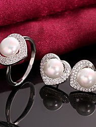 Platinum Plated Pearl Earrings Rings Fashion Pearl / Zircon Wedding Jewelry