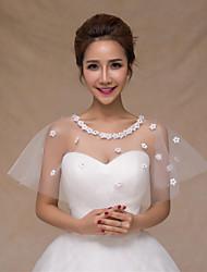 Wedding Wraps Capelets Satin/Tulle Flower Thin Bride Wraps White