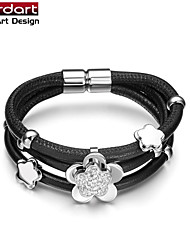 Black Sheepskin Rope Bangle with 316L Stainless Steel Flower Bead with CZ Stones Set Magnet Buckle for Women