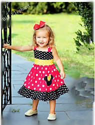 Big Elephant New Baby Girl Clothing Mickey Kids Dress Outfit Sets Dot 1 pcs in for 1-4Y A98 Red
