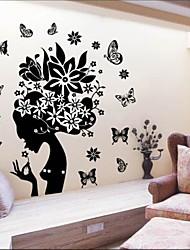 stickers muraux autocollants de mur, mignon coloré PVC amovible la belle fille avec mur de papillon autocollants.