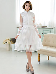 Women's Vintage/Casual/Cute/Party/Work Lapel Collar Elegent ¾ Sleeve Knee-length Dress (Chiffon/Organza)