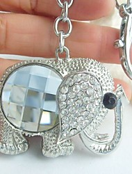 Unique White Elephant Key Chain With Clear Rhinestone Crystals