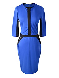 Women's Work Vintage Bodycon Dress,Color Block Round Neck Knee-length ½ Length Sleeve Blue / Red / Gray