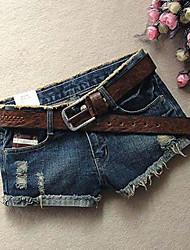 Femme Sexy simple Mignon Taille Basse non élastique Jeans Short Pantalon,Mince Rayé