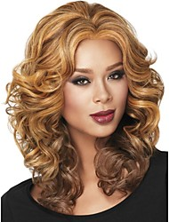 New Women Nice Long Auburn with Highlights Wavy Full Synthetic Wig free shipping