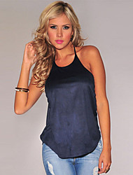 Women's Navy Faux Suede Open Back Halter Top