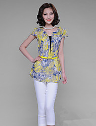 Women's Print Blue Blouse , Stand Short Sleeve Flower