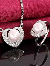 Platinum Plated Pearl Necklace Rings Fashion Pearl / Zircon Wedding Jewelry