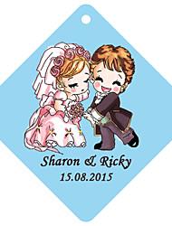 Personalized Rhombus Wedding Favor Tags - Sweet Cartoon Wedding (Set of 36)