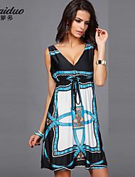 AOLD®Women's Vintage/Sexy/Beach/Casual Micro-elastic Sleeveless Knee-length beach Dress (Vicose/Polyester/Lycra)