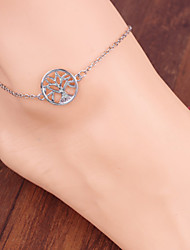 Women Fashion Body Jewelry Alloy Vintage Small Tree Multi Chain Anklets
