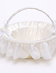 Rattan Flower Basket with Imitation Pearl(22*22*22) Flower Girl Basket