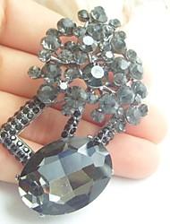 Women Accessories Gray Rhinestone Crystal Brooch Bouquet Wedding Deco Flower Brooch Pin Women Jewelry