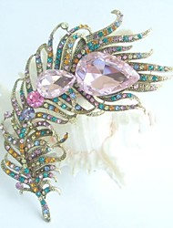 Women Accessories Gold-tone Multicolor Rhinestone Crystal Peacock Feather Brooch Art Deco Brooch Bouquet Women Jewelry