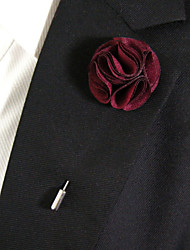 Men's Casual Wine Red Silk Goods Brooch