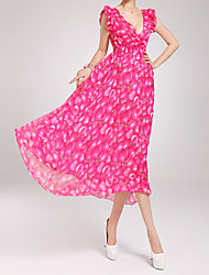 Women's Flowing Peach Printing Chiffon Long Dress