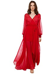 Women's Party Dress,Solid Maxi Long Sleeve Red Summer