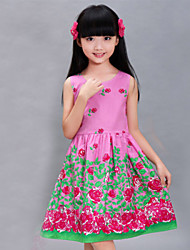 Girls Purple Flower Print Sundress Party Birthday Child Clothes Princess Dresses (100% Cotton)