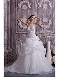 Ball Gown Wedding Dress Chapel Train Sweetheart Organza