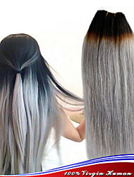 3Pcs/Lot Ombre Hair Extensions 1b Silver Grey Hair Weave Brazilian Virgin Human Colored Hair 8A Grade