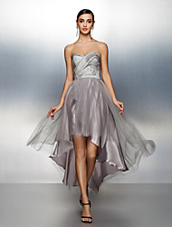 Homecoming Formal Evening Dress - Silver A-line Sweetheart Asymmetrical Taffeta/Tulle