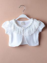 Kids Wraps Short Sleeve Lace/Polyester Sweet Pearl Lace Party/Casual Boleros White Bolero Shrug