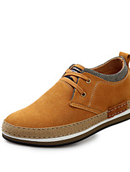 Men's Shoes Wedding/Office & Career/Casual Linen Oxfords Blue/Brown
