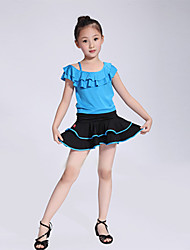 Latin Dance Latin Dance/Performance Outfits Children's Lovely Performance/Training Polyester Pleated Outfit Blue/Red Kids Dance Costumes