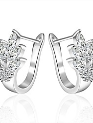 lureme® Fashion Style Silver Plated Flower Shaped with Zircon Stud      Earrings
