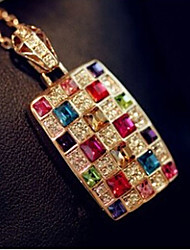 New Arrival Fashional High Quality Geometric Square Crystal Necklace
