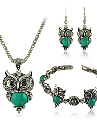 Vintage Owl Style  Necklace Bracelet Earring Set