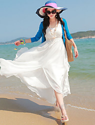 Women's Sexy Beach Cute Party Maxi Inelastic Sleeveless  Dress (Chiffon)