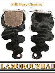 "1Pc/lot 8""-24"" Malaysian Virgin Hair Natural Color Body Wave 4""X4"" Top Silk Base Closure"