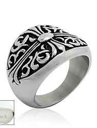 Personalized Father's Day Gift Jewelry Titanium Steel Silver Irises Pattern Men's Ring